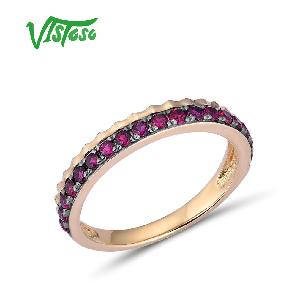 VISTOSO Genuine 10K Yellow Gold Antique Style Ring For Lady Luxury Created Ruby Trendy Engagement Anniversary chic Fine Jewelry