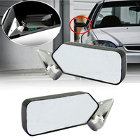 A Pair Universal Carbon Fiber Car Auto Rearview Rear View Side View Mirror Cover Trim Glass Wide Angle Metal Bracket White/Blue