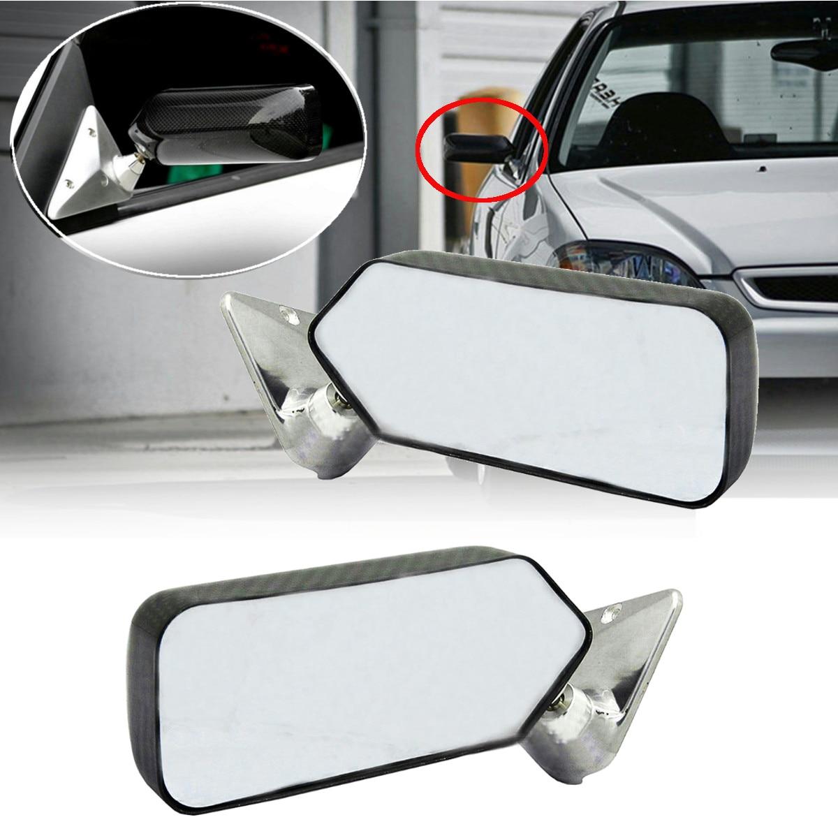 A paire universel en Fiber de carbone voiture Auto rétroviseur rétroviseur latéral couvercle garniture verre grand Angle métal support blanc/bleu