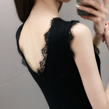 Sexy Lace Tank Tops Women Sleeveless V Neck  Camisole Tank Top Feminino Slim Summer Woman Clothe v neck ruched lace tank top