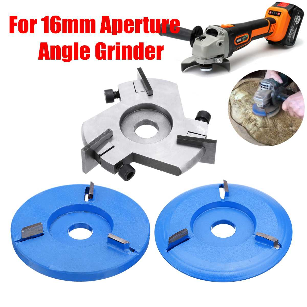 Power Wood Carving Cutter Tool Angle Grinder Attachment Detachable/Round/Flat Teeth For 16mm Aperture Angle Grinder