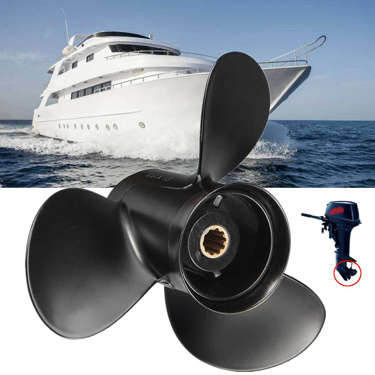Outboard Propeller 346-64104-5/3R0B645270 for Tohatsu Mariner for Mercury for Nissan 25-30HP 10 Spline Tooths Aluminium AlloyOutboard Propeller 346-64104-5/3R0B645270 for Tohatsu Mariner for Mercury for Nissan 25-30HP 10 Spline Tooths Aluminium Alloy
