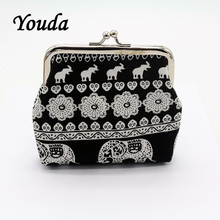 Coin Wallet Elephant Money-Bag Canvas Casual Print Youda National Dollar Ethnic-Style