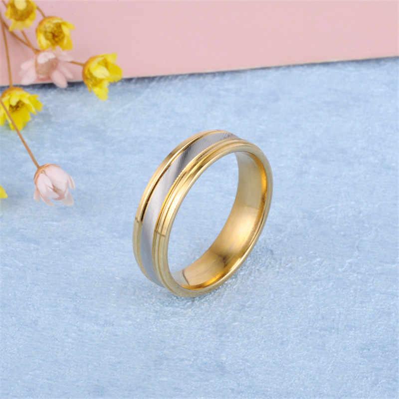 2020 남자를위한 스테인리스 손가락 반지 여자를위한 능 직물 금 반지 커플 결혼식 약속 반지 연인을위한 유행 보석 반지