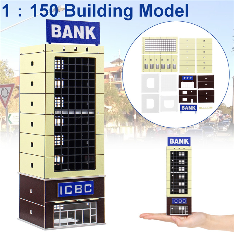 2019 Fashion 1/150 Scale Outland Model Modern Bank Building Model Toy Sand Table Layout Props Children Diy City Street Lanscape Models Gifts Strengthening Sinews And Bones Blocks Toys & Hobbies
