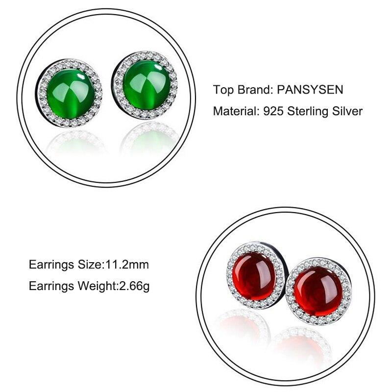 PANSYSEN Natural Green Red Carnelian Stud Earrings Genunie 100 925 Sterling Silver Women 39 s Earring Party Fine Jewelry Wholesale in Earrings from Jewelry amp Accessories