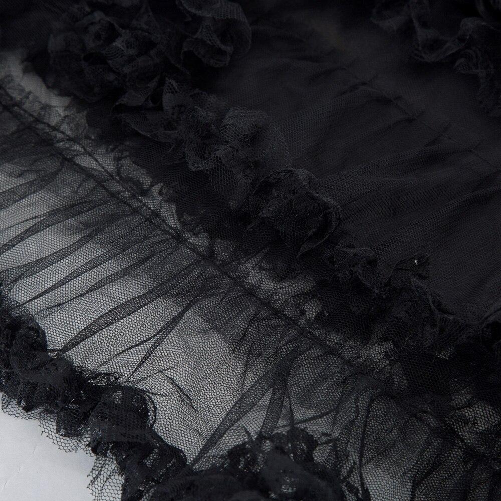 Volantes Las Fruncido Black Negro Falda Tul Vestido Maxi Gótico Mujeres Patchwork Victoriano De Chicas Con Cadena las Faldas Geniales Decorado H0E7wq4Z