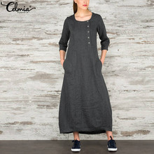 цены Celmia 2019 Autumn Spring Women Robe Maxi Dress O Neck Three Quarter Long Dress Casual Loose Vestidos Elegant Dresses Plus Size