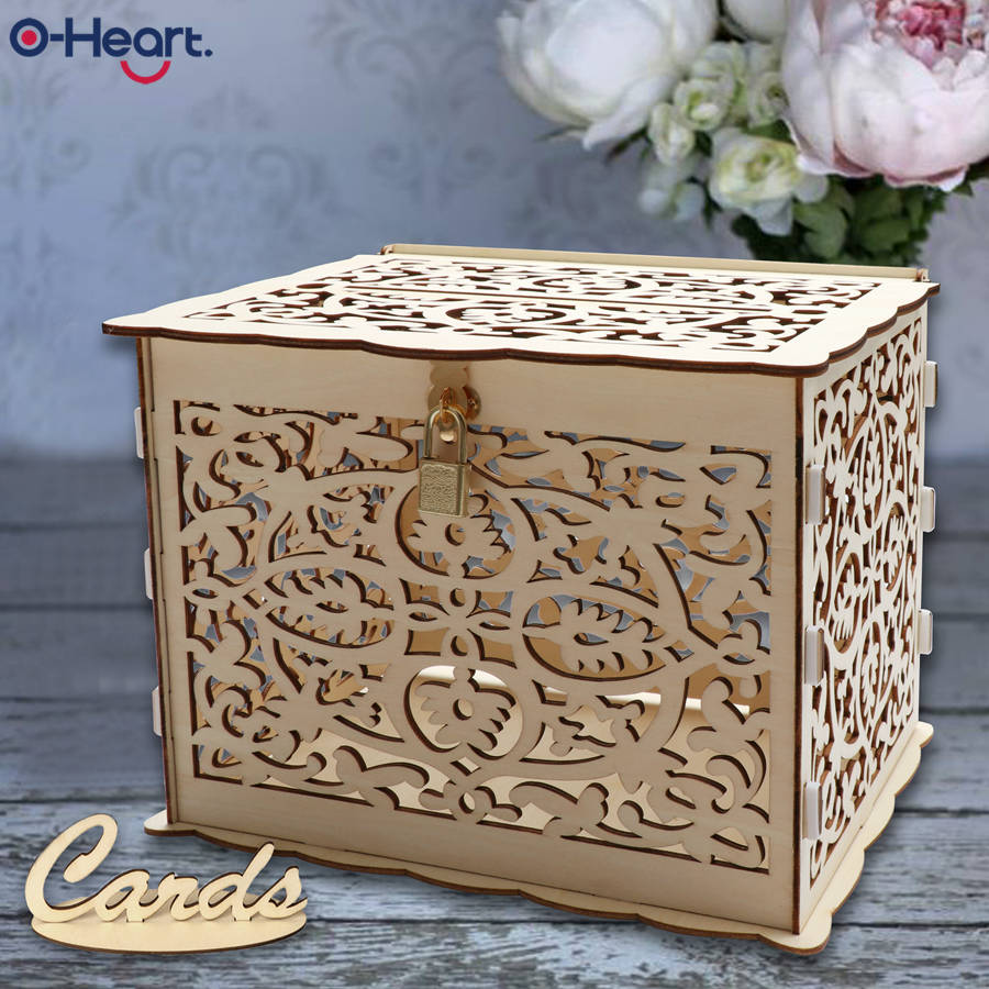 Oheart Wedding Card Box With Lock Baby Shower Decor Wooden Gift