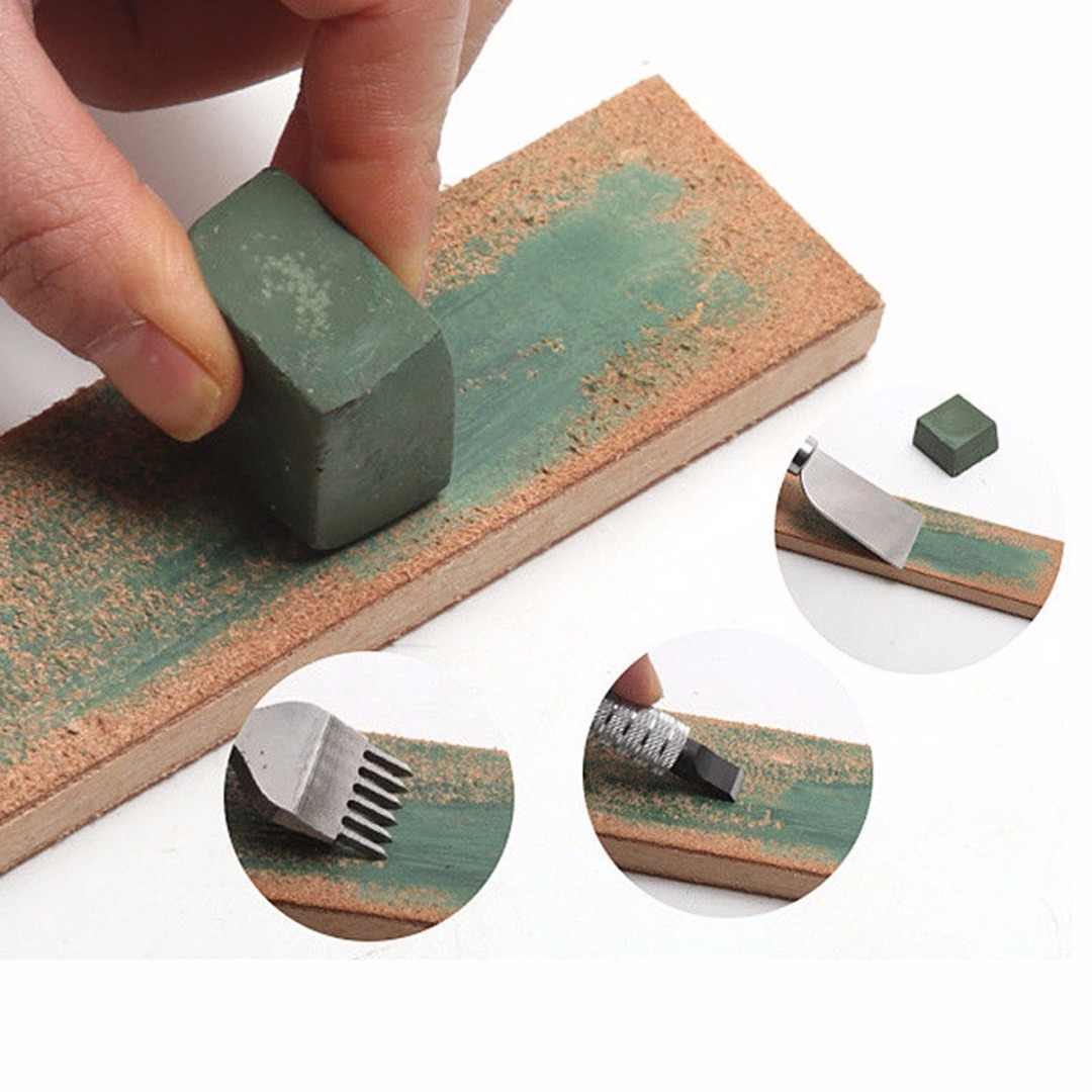 DIY Handmade Leather Sharpening Knife Green Sharpening Cream Wax Blade Grinding Strop Leathercraft Tools