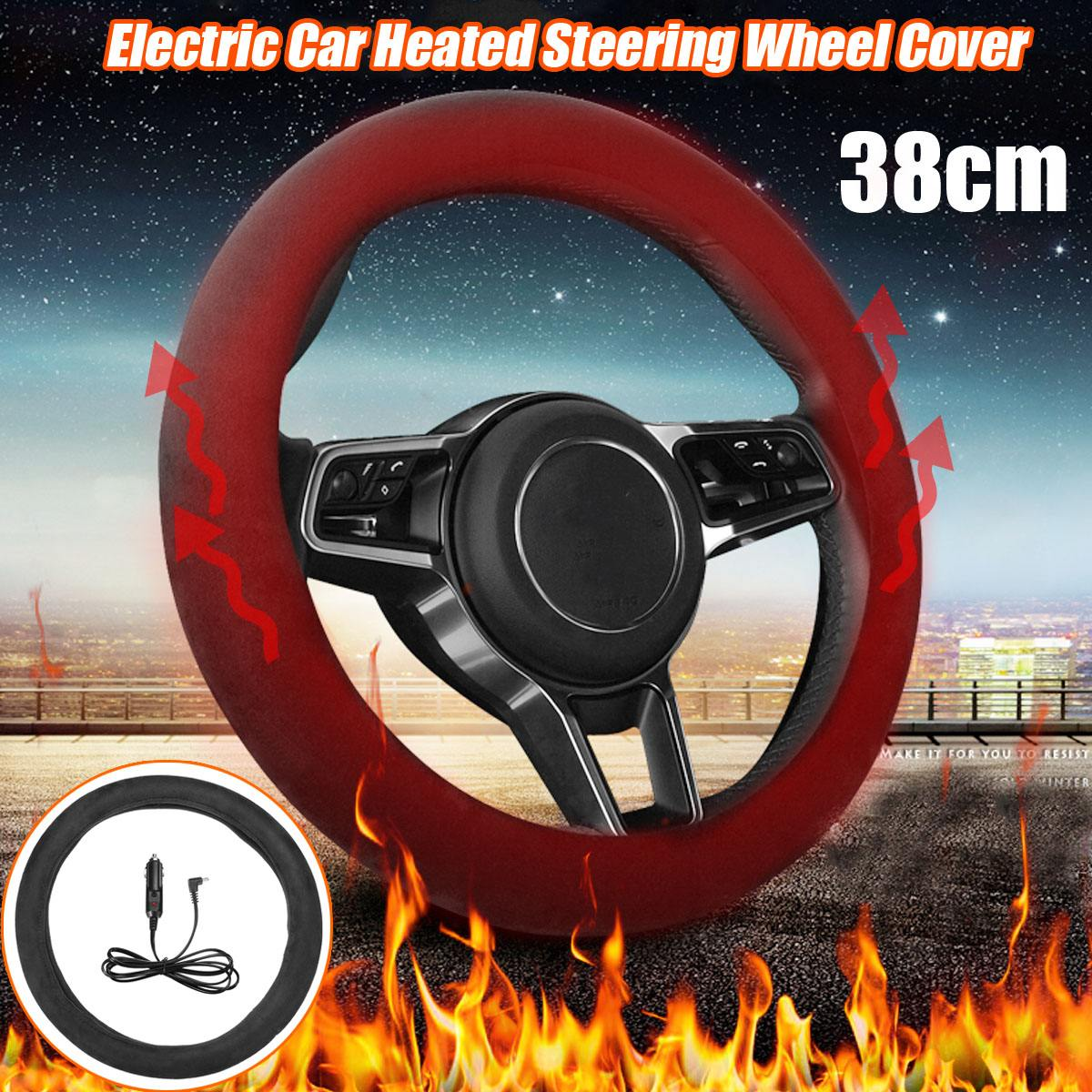 38cm 12V Electric Car Steering Wheel Cover Washable Heated Lighter Plug Warmer Winter Steering Covers Car Accessories