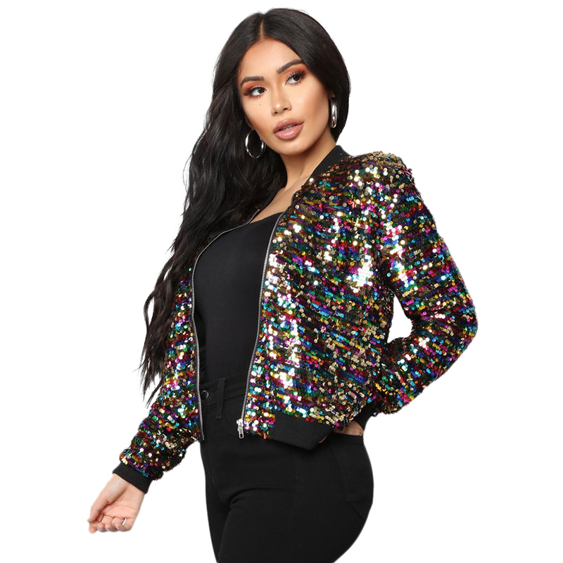 Casual Zip Up   Basic   Sequin   Jacket   Women Bomber   Jacket   Colorful Sequin Glitter Coat Bling Bling Long Sleeve Cool Street Club Wear