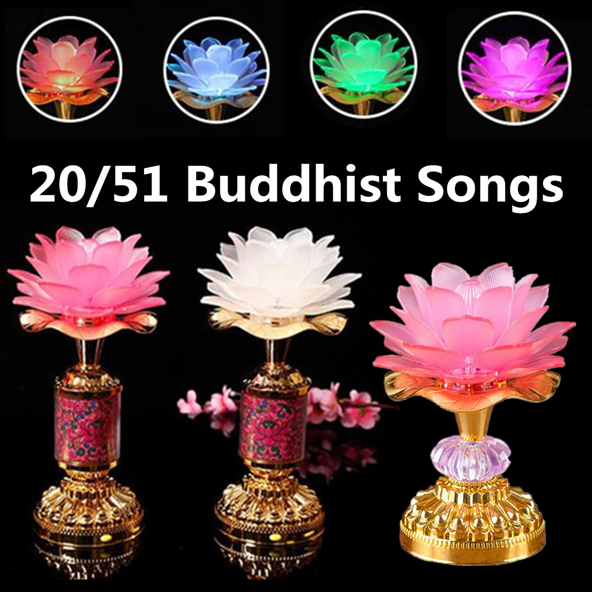 7 Color Flower Buddhist Prayer Lamp Buddha Music Machine LED Color Changing Buddha Temple Light 51 20 Buddhist Songs7 Color Flower Buddhist Prayer Lamp Buddha Music Machine LED Color Changing Buddha Temple Light 51 20 Buddhist Songs