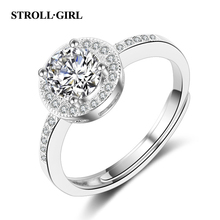 Strollgirl New Arrival 925 Sterling Silver Flower Rings Pave with Clear Cubic Finger Ring Anniversary Jewelry for Women Gift