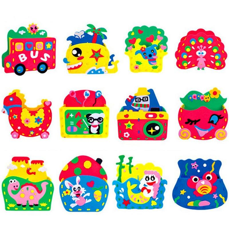 12 Sets Kids Toy Children Handmade Cartoon Animal Brush Pot Craft Art Craft Gift Unfinished