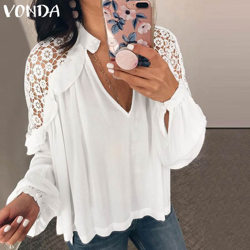 2019 VONDA Women Summer Strapless Lace Blouse Sexy Club Tunic Tops V Neck Lantern Sleeve Blusas Off The Shoulder OL Shirt S-5XL