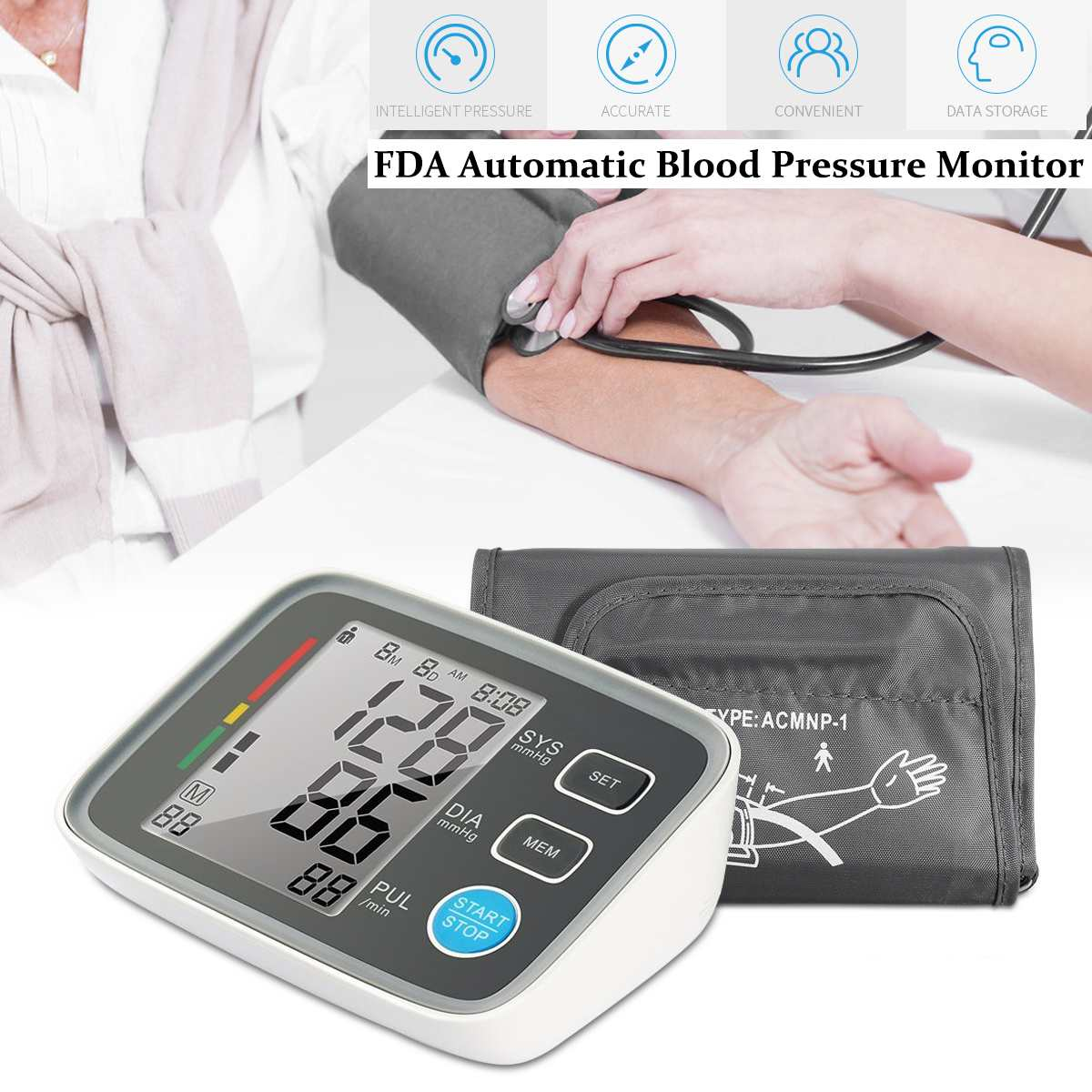 Digital LCD Blood Pressure Monitor Heart Beat Meter Machine Large Screen Automatic Sphygmomanometer Tonometer Health CareDigital LCD Blood Pressure Monitor Heart Beat Meter Machine Large Screen Automatic Sphygmomanometer Tonometer Health Care