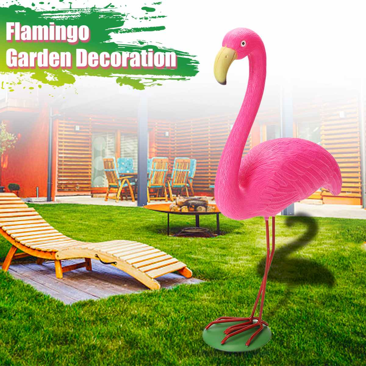M Size 31x10.5x40cm Pink Flamingo Ornament Set Garden Resin + Metal Outdoor Lawn Light Decoration Ornament Home Garden Yard Room