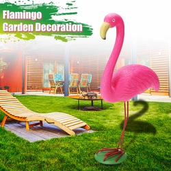 M tamanho 31x10.5x40cm rosa flamingo ornamento conjunto de resina jardim + metal ao ar livre gramado luz decoração ornamento casa jardim quintal quarto