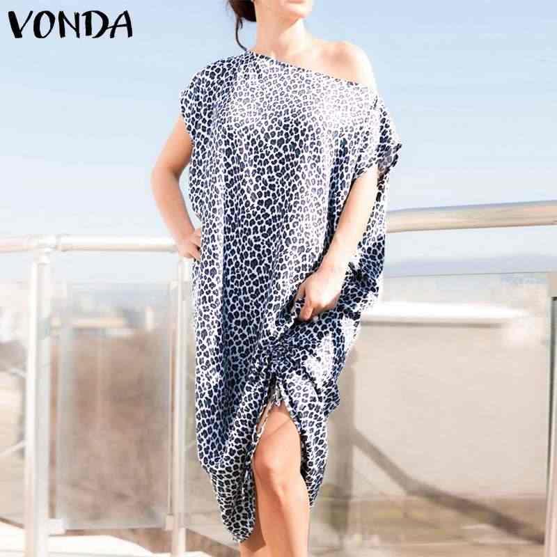 VONDA/Брендовое женское леопардовое Платье с принтом 2019 летнее повседневное сексуальное вечернее платье до середины икры с рукавами «летучая мышь» женские большие размеры Vestidos