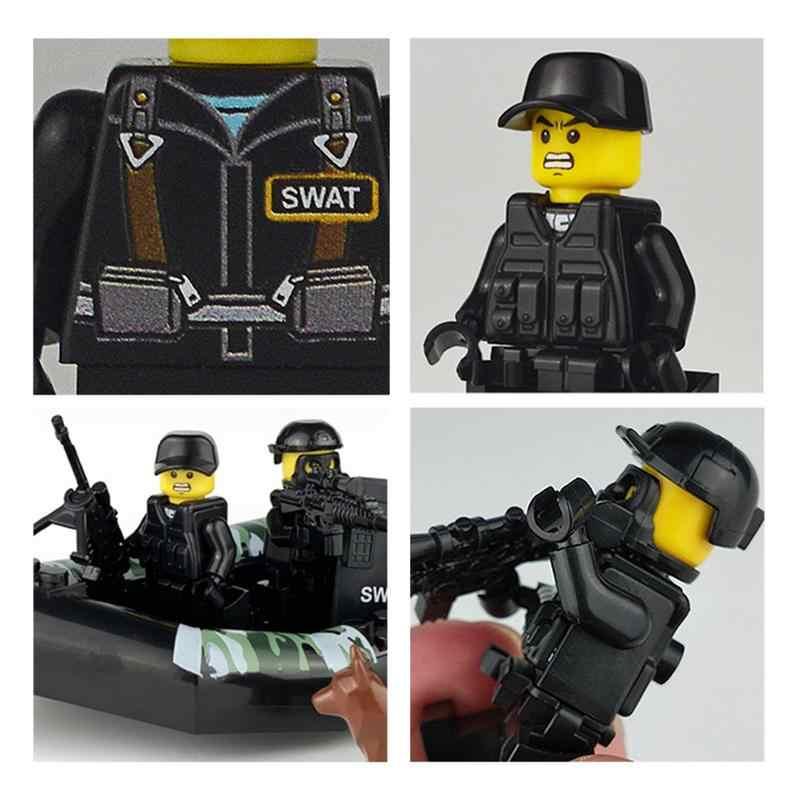 4 pçs/set Militar Soldados Das Forças Especiais Figuras Tijolos Brinquedos Blocos de Construção de Armas Armas Compatível Legoings Armado SWAT Ww2