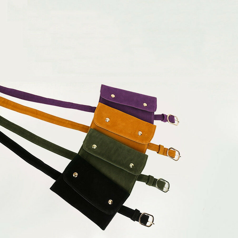 Women's Classic Waist Bag PU Leather Solid Color Mini Waist Pack Pochete Belt Bag