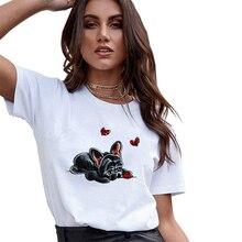 French bulldog Lovely T-Shirt Women Vogue Pet White T Shirt 100% Cotton O-Neck Summer Hipster