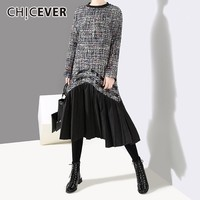 CHICEVER 2018 Autumn Winter Patchwork Pleated Dresses Female O Neck Long Sleeve Hit Colors Midi Dress Korean Fashion Clothes New