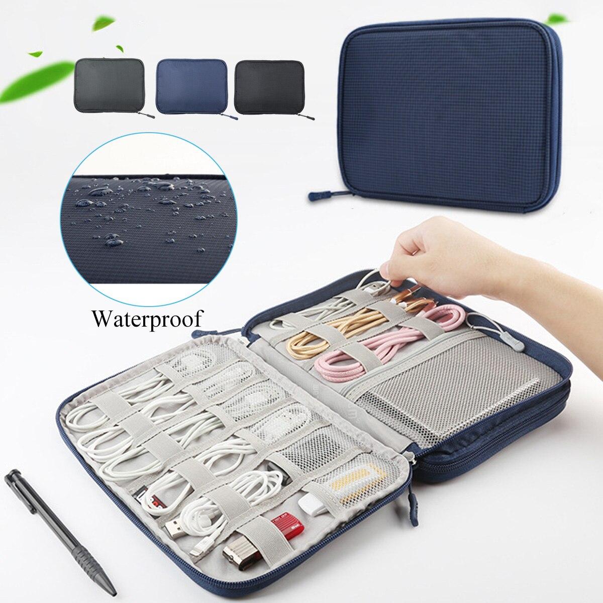 2 שכבה דיגיטלי אביזרי אוסף תיק נסיעות תיק מקרה USB כבל ארגונית תיבת ציוד לשאת תיק פאוץ דיסק און קי Fit עבור iPad