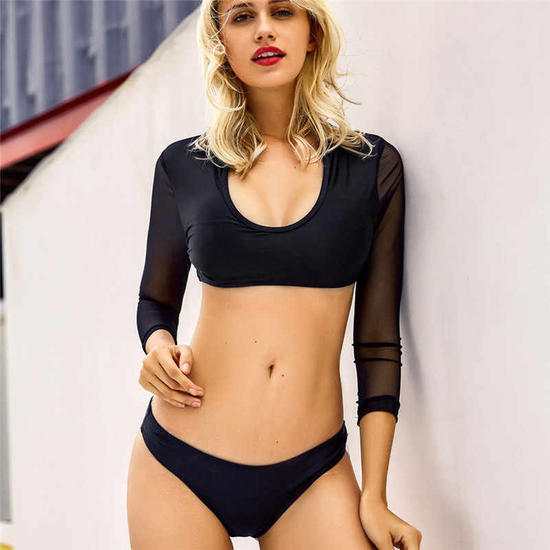 8c3495debd 2019 black white Long Sleeve Bikini Swimsuit 2 Piece Surfing Swimsuit  Sports mesh swimwear Bathing Suit