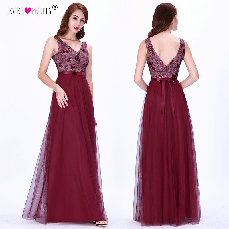 Robe De Soiree Longue 2018 Ever Pretty EZ07626 New Sexy Burgundy Sleeveless Beading A-line Lace Appliques Tulle Prom Dresses
