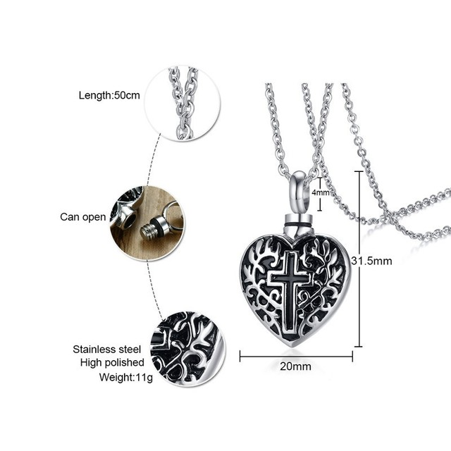 Heart & Cross Memorial Cremation Keepsake Stainless Steel Pendant with Necklace