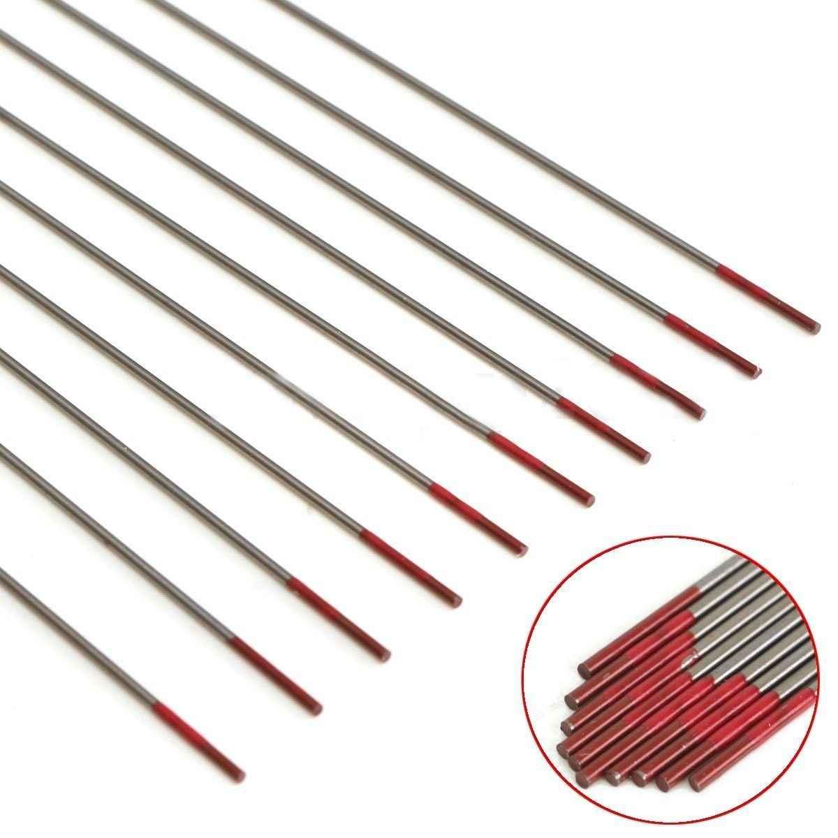 WSFS 10 Quente pcs WT20 Ponta Eletrodos De Solda TIG Lanthanated Tungstênio 2% 150 milímetros/6 polegada WT20 Thoriated Vermelho soldagem TIG Tungstênio