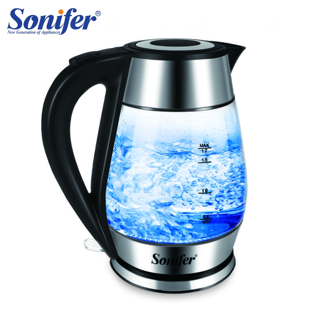 1.7L Colorful Electric Kettle Glass Transparent 2200W Household Quick Heating Electric Boiling Pot Sonifer1.7L Colorful Electric Kettle Glass Transparent 2200W Household Quick Heating Electric Boiling Pot Sonifer