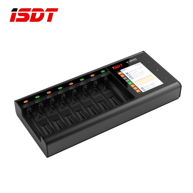 Venta caliente ISDT N8 18 W 1.5A 8 ranuras pantalla LCD AA/AAA 18650 cargador rápido para la batería LiIon LiHv la vida NiMh Nicd Nizn de los modelos de RC parte ACC