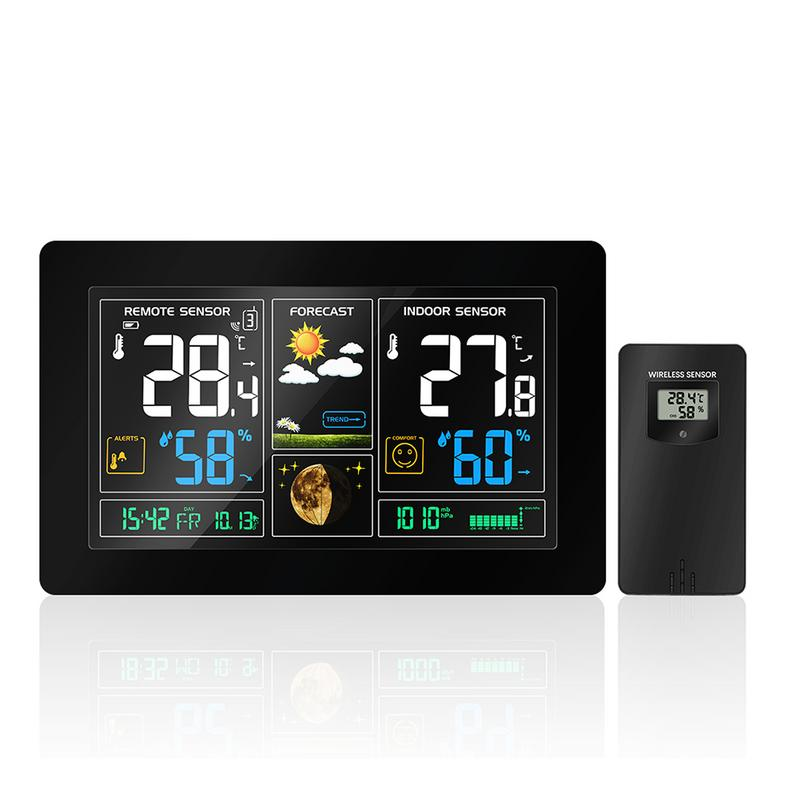 ЕС/США цвет большой экран Прогноз погоды часы беспроводной радио многофункциональный электронный будильник температура влажность календа