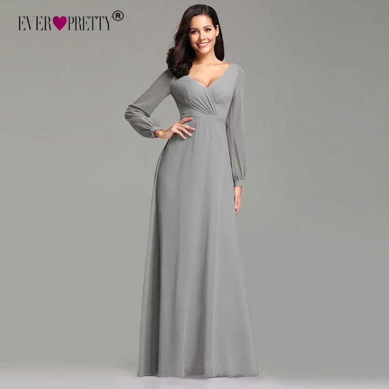 Grey Long Sleeve   Evening     Dress   2019 Ever Pretty Elegant A Line V Neck Plus Size Long Wedding Party Guest Dreses Robe De Soiree