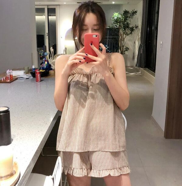 2019 Summer Women Pajamas Sets With Shorts Cute Cotton Lattice Parttern Summer Pyjama Nightsuits Pajamas For Women