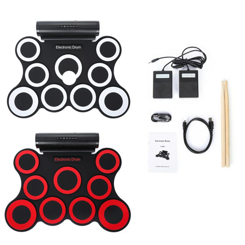 Electronic Drum Pad 9 - Pad Foldable Electronic Drum Set with 9 Silicon  Drum Pads 12 Demo Songs 7 Kinds of Drumbeats