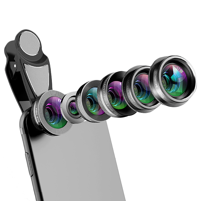 Phone Camera Lens,6 In 1 Cell Phone Lens Kit For Iphone And Android, Kaleidoscope Wide Angle+Macro Cpl Fisheye Telephoto Zoom-in Camera Lens from Consumer Electronics