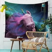 Dream Unicorn Tapestry Wall Hanging Galaxy Moon Psychedelic Mandala Watercolor Draw Cloth Tapestries Hippie Throw