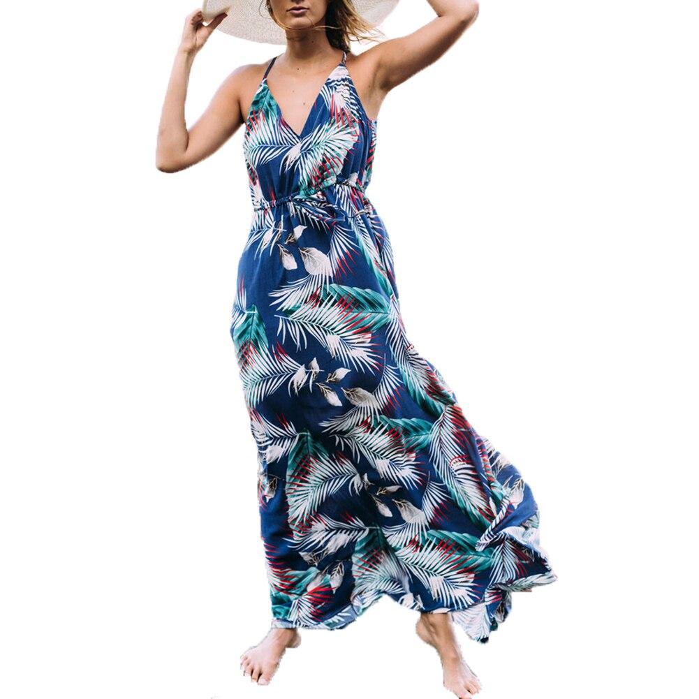 Women Summer Bohemian Style Printed V-neck Lace-up Halter Drawstring High Waist Sleeveless Long Expansion Dress vestido