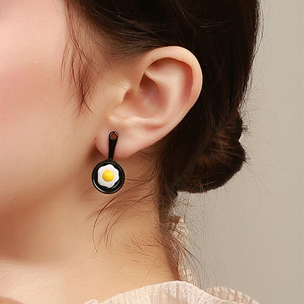 2019 Fashion Creative Women 39 s Earing Funny Enamel Fried Egg Pan Shovel Asymmetric Personality Ladies Stud Earrings Ear Jewelry in Stud Earrings from Jewelry amp Accessories