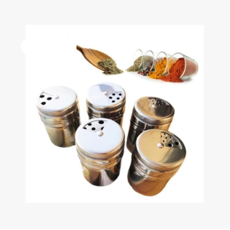 1pcs Kitchen Seasoning Box Stainless Steel Spice Pepper Salt Cans Container Pepper Grinder Box Kitchen Tool Gadget Accessories