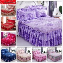 Purple Flower Pattern Thick Quilted Bed Skirt Adult Kids Girl Soft Cotton Sheet Cover Linen 1.2m 1.5m 1.8m 2m Bedspreads 180x220(China)
