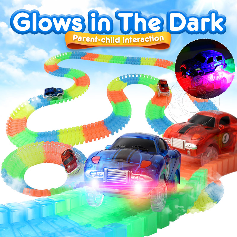Magical Glow Racing Track Set Track Car Flexible Glowing Tracks Toy DIY Track Accessories Gifts Educational Toys For Children