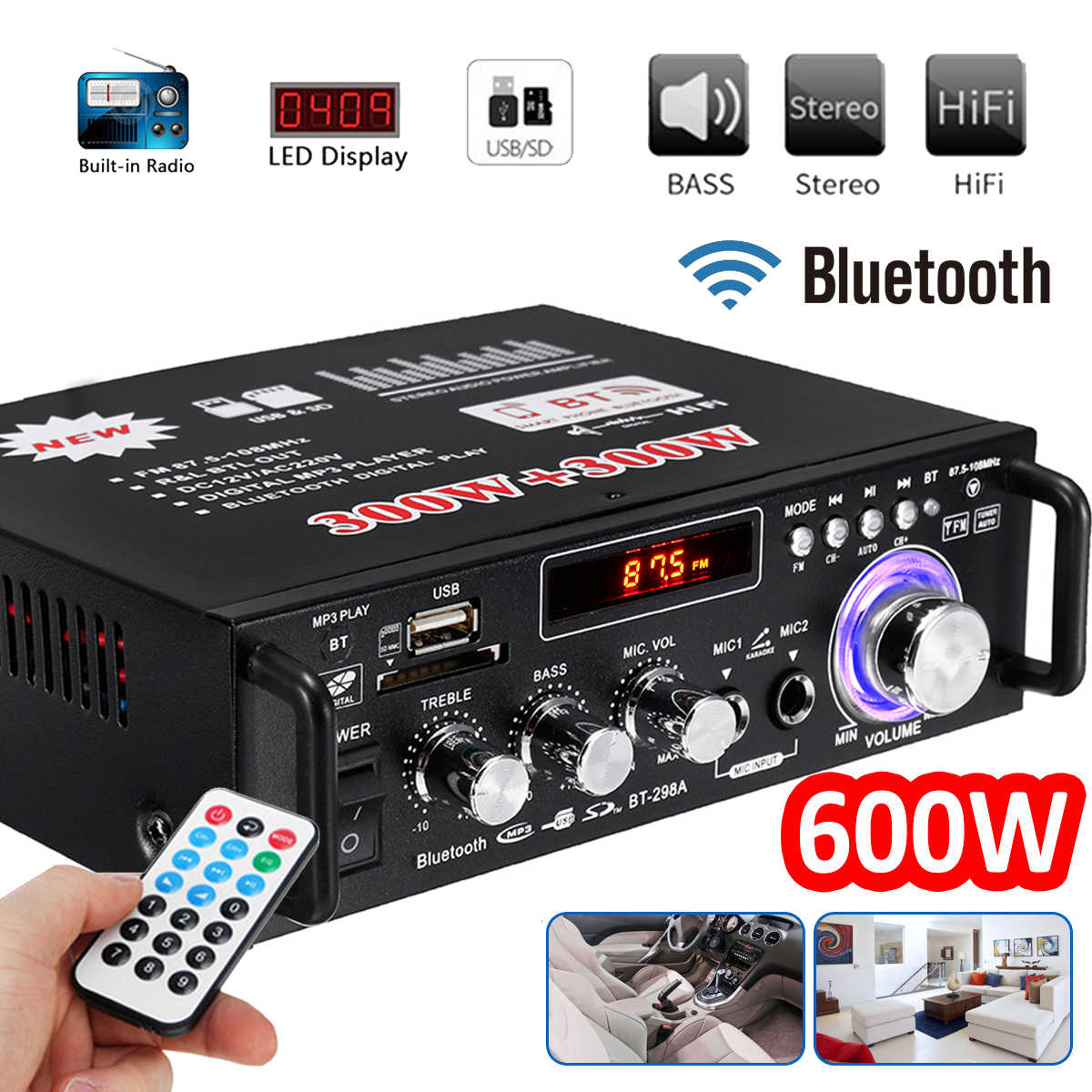 12 V/220 V 600 W Mobil HI FI Penguat Audio Stereo Power Bluetooth FM Radio 2CH Home Theater Amplifier mini Amplificador Audio
