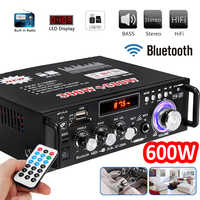 12 V/220 V 600W HiFi para coche Amplificador de Audio estéreo de bluetooth FM Radio 2CH casa teatro amplificadores Mini Amplificador de Audio