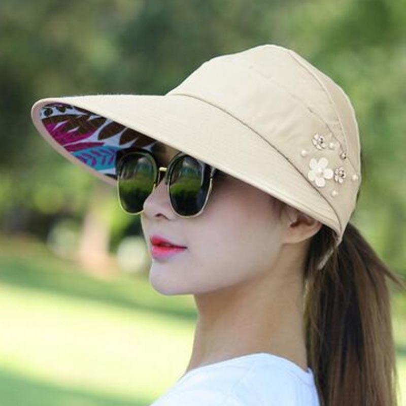 2018 Summer Hats Women Foldable UV Protection Sun Hat Visor Suncreen Floppy Cap Chapeau Femme Outdoor Beach Hat