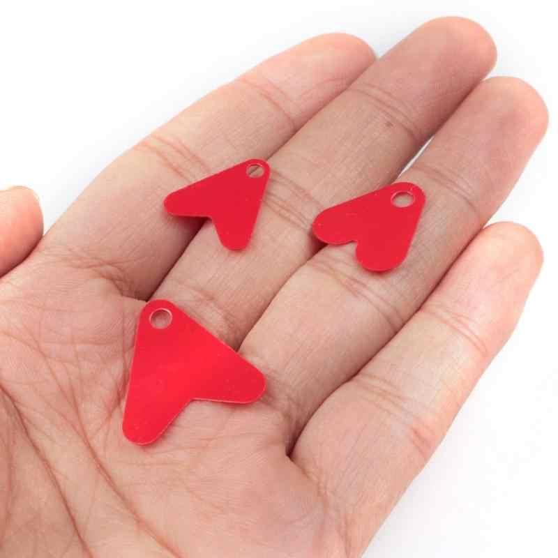 100 Chiếc Mồi Câu Cá Nhựa Trái Tim Đỏ Kim Sa Lấp Lánh Cho Spinner Mồi Phụ Kiện Cá Attractant Spinner Cá Thiết Bị